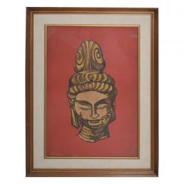 Modern Batik Art Buddha Head Red Gold Chinese