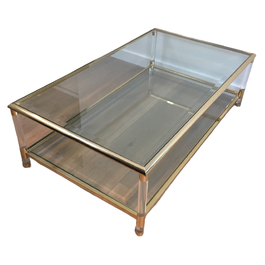 LARGE GILD AND LUCITE COFFEE TABLE. CIRCA 1970