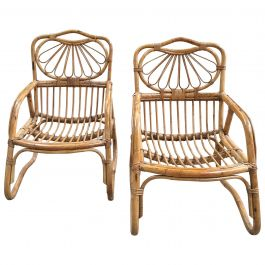 Pair of Italian Bamboo Armchairs from 1960s