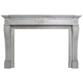 French Louis XVI Style Carved Marble Fireplace Mantel