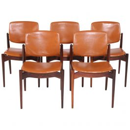 Set of Five Erik Buch Refinished Dining Chairs in Rosewood, Inc. Reupholstery