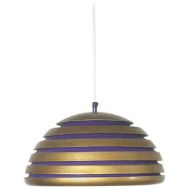 Scandinavian Copper and Purple Metal Hanging Lamp, 1960s