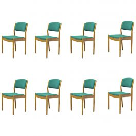 Set of Eight Poul Volther Refinished Dining Chairs in Oak, Inc. Reupholstery