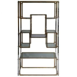 Hollywood Regency Shelf or Etagere Brass and Chrome