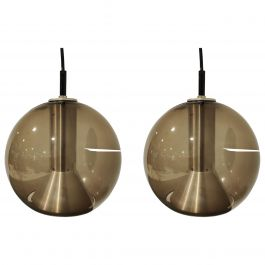 Pair of Glass Globe Pendant Lights by Frank Ligtelijn for Raam, 1960s
