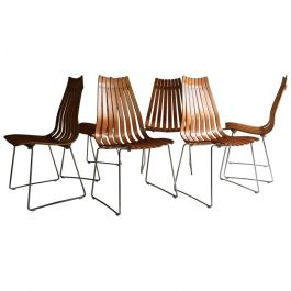 Set of Six 1960s Scandia Rosewood Dining Chairs by Hans Brattrud