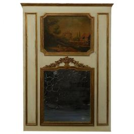 19th Century French Trumeau Mirror and Oil Painting