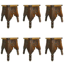 Six French Stools French Country House Oak Rush, circa 1910, Arts and Crafts