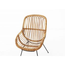 Pair of Rattan, Wicker and Iron Armchairs, Italian, 1950s