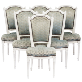 Six Dining Chairs French Louis Xvi Revival Mid 20th Century