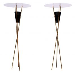 Pair of Tripod Torchieres Floor Lamps, Mid-Century Modern