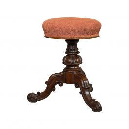 Antique Music Stool, English, Walnut, Adjustable, Piano Recital, 19th Century