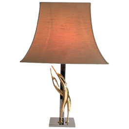 CHROME & BRONZE SCULPTURAL TABLE LAMP WITH BIRDS