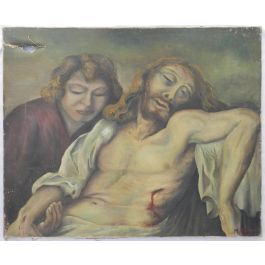 UnknownMid century Realist Oil Painting of Jesus and Mary Magdelene signedc1950s