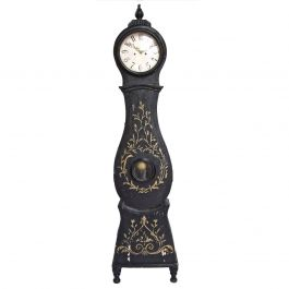 Antique Swedish Black and Gold Mora Clock Early 1800s Urn Feet
