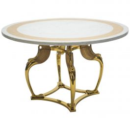Rare Hollywood Regency Robert Thibier Brass Marble Dining Table, 1970s
