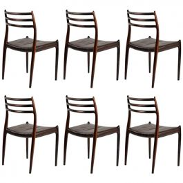 Six Fully Restored N. O. Moller Rosewood Dining Chairs - Inc. Reupholstery