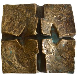 Abstract 1960s Brutalist Wall Mounted Bronze Relief