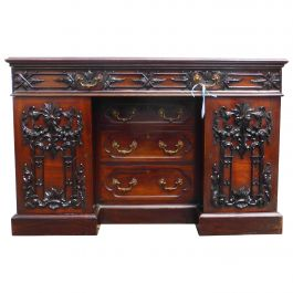 19th Century Victorian Carved Mahogany Desk