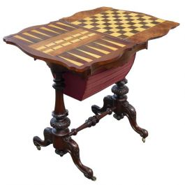 Victorian Burr Walnut Work Table or Games Table