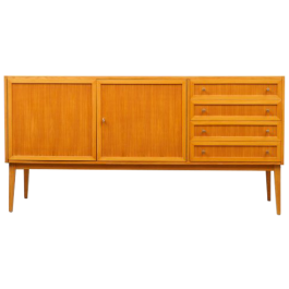 Restored 1960s sideboard in ashwood, with pannelled doors