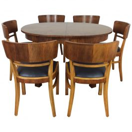 Art Deco Extendable Dining Table and Six Chairs by Jindrich Halabala