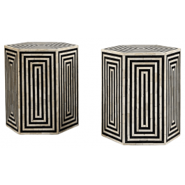 A pair of horn and ebonised hexagonal side tables / stools