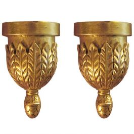Pair of Italian Giltwood and Marble Wall Brackets
