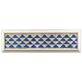 A set of ten Cuenca blue and white tiles with a wavy Renaissance pattern.