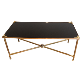MAISON JANSEN BRASS COFFEE TABLE WITH BLACK TOP