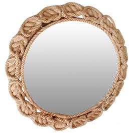Mid Century Round Shaped Mirror in Rope Trésser