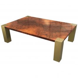 Mid-Century Modern Italian Briar Root Coffee Table with Gilt Legs, 1970s
