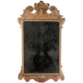 Early Queen Anne Carved Gesso English Mirror