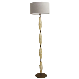 A 1950's Sculptural Murano Glass and Brass Floor Light in the style of Barovier e Toso