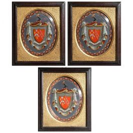 Three Victorian Églomisé Armorials of the Eddinger Family