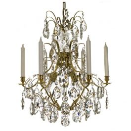 Baroque Crystal Chandelier: Polished brass 6 arm with almond crystals
