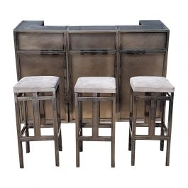 Vintage burshed steel Bar with Stools by Maison Jansen, 1970s