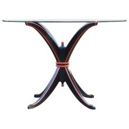 Maison Hirsch, Black and Orange Lacquered Dining Table, circa 1960