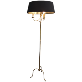 NEOCLASSICAL TRIPOD BRASS FLOOR LAMP
