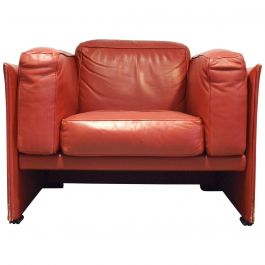 Red Leather Cassina 405 Duc Armchair by Mario Bellini