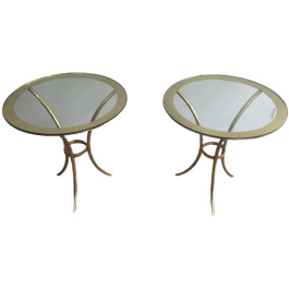 PAIR OF ROUND GILT BRASS SIDE TABLES. CIRCA 1970