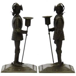 Pair of Arts & Crafts Candlesticks, Goberg Knights Vienna Secession Hugo Berger