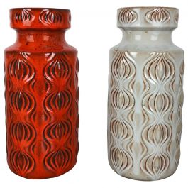 Set of Two Vintage Pottery Fat Lava 'Onion' Vases Made by Scheurich, Germany