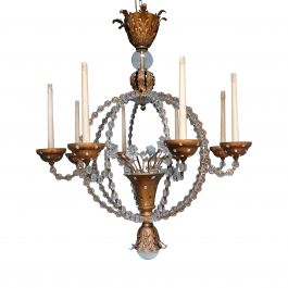 Pair of Bagues Style Glass-Crystal Chandeliers