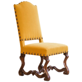 A LOUIS XIV WALNUT UPHOLSTERED SIDE CHAIR