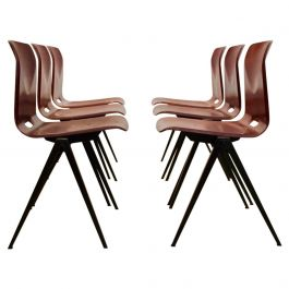 Large Stock Stackable Pagholz Galvanitas S22 Industrial Diner Chairs in Brown