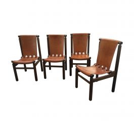Mid-Century Modern Italian Leather Chairs by Tapiovaara for La Permanente Cantù