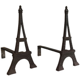 VERY RARE EIFFEL TOWER CAST IRON ANDIRONS. FRENCH