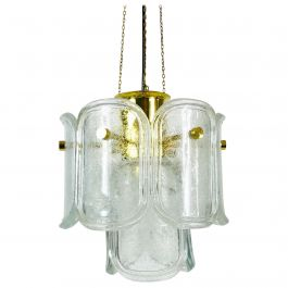 Extra Large Limburg Midcentury Two-Tier Brass and Ice Glass Chandelier