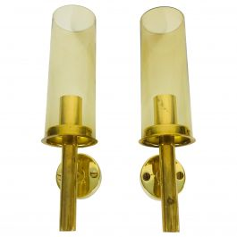 Pair of Mid-Century Modern Brass Sconces by Hans-Agne Jakobsson, Sweden, 1960s